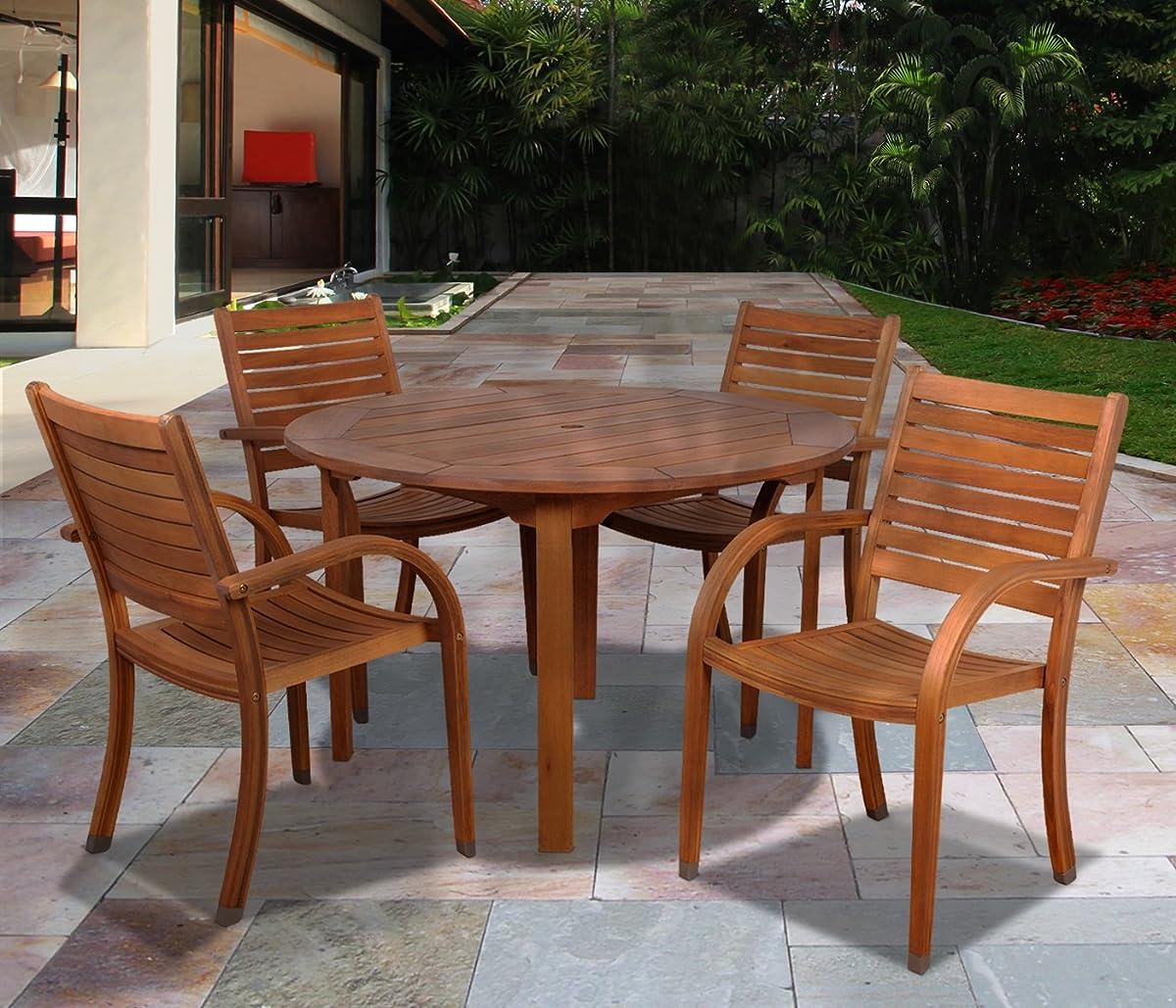 Amazonia Arizona 5-Piece Eucalyptus Round Dining Set
