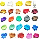 ORAK Premium [24 Assorted Colors] Cosmetic Grade Natural Mica Powder Pigment Set for Bath Bomb, Soap, Epoxy, Resin, and Slime Making - Non Toxic Pearl Color Dyes for Makeup and Nail Art (Color: 24 Color)