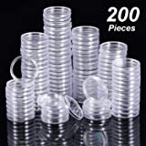 Hicarer 25 mm Coin Holder Capsules Clear Round Plastic Coin Container Case for Coin Collection Supplies (200) (Tamaño: 25 mm)