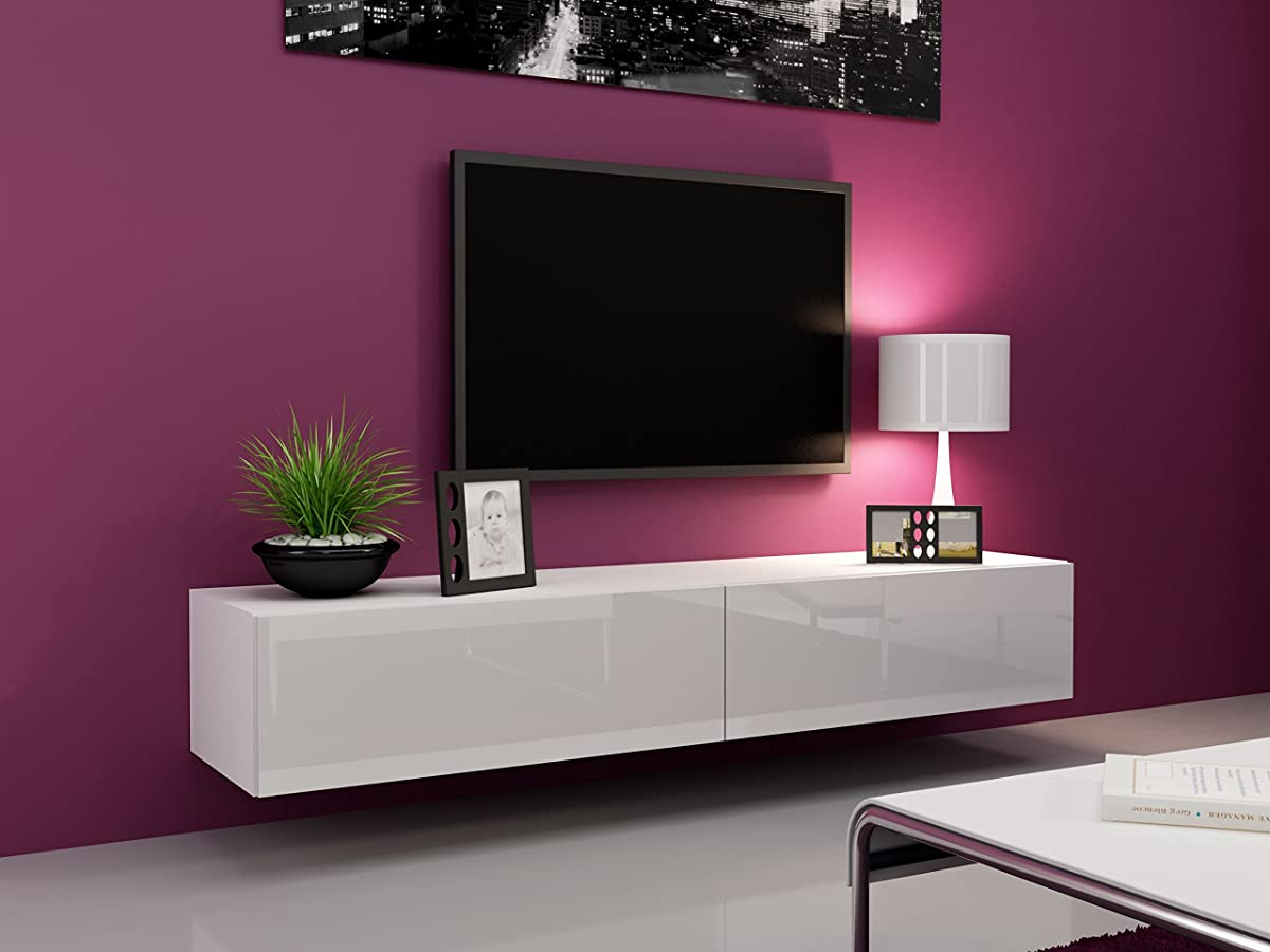 """Seattle TV Stand 180 – TV cabinet with High Gloss fronts - Hanging TV console for up to 80"""" TVs (White)"""