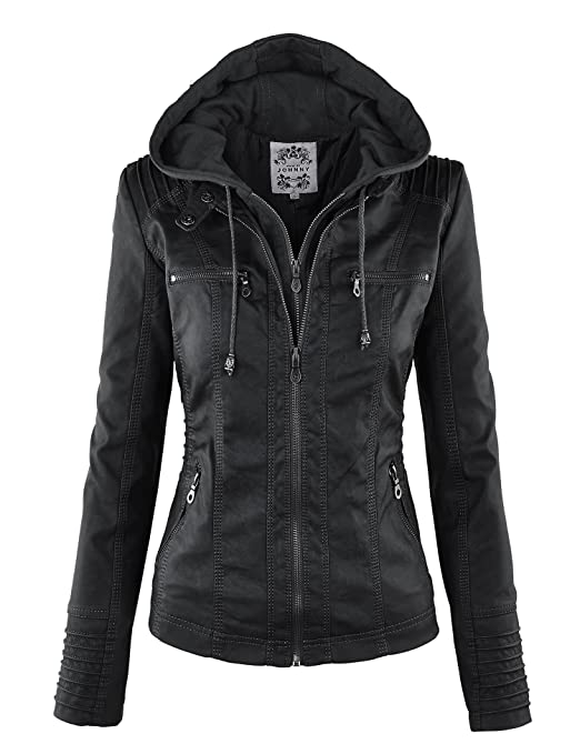 CTC Womens Removable Hoodie Motorcyle Jacket S BLACK