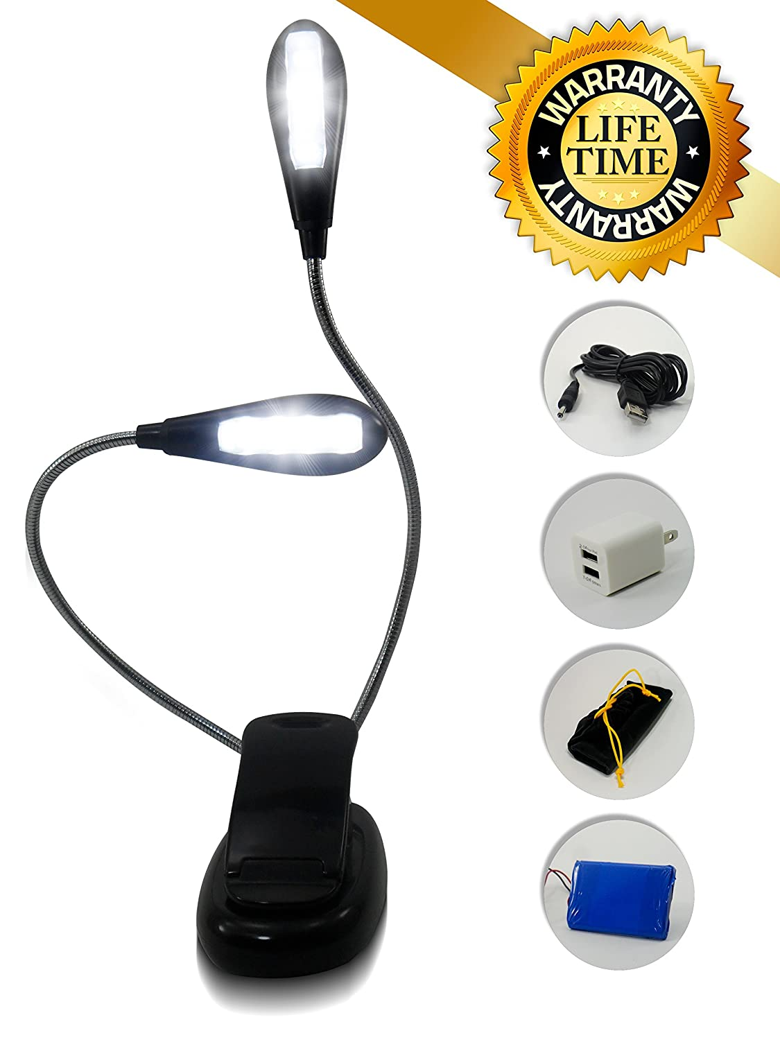 Fullest Reading Light for Bed & Music Stand Light - 8 LED Bulbs - Rechargeable 1000mAh Battery - Fast 1.5 Hours Charging Time  ..