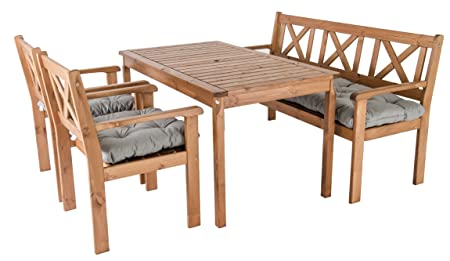 Ambientehome Garden Furniture Dining Set Solid Wood Evje Set (7 Pieces)