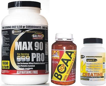Das Kit enthält: Protein 90% Protein 3 Quellen mit Vitaminen schmecken 750 gr Kakao + BCAA Aminosäuren mit Vitamin B1 und B6 100 Tabletten + 4 Quellen Kreatin (Monohydrat, Sick, Taurinat, Ethyl-Ester) 100 Tabletten. Ideal fur anstrengende Sporta