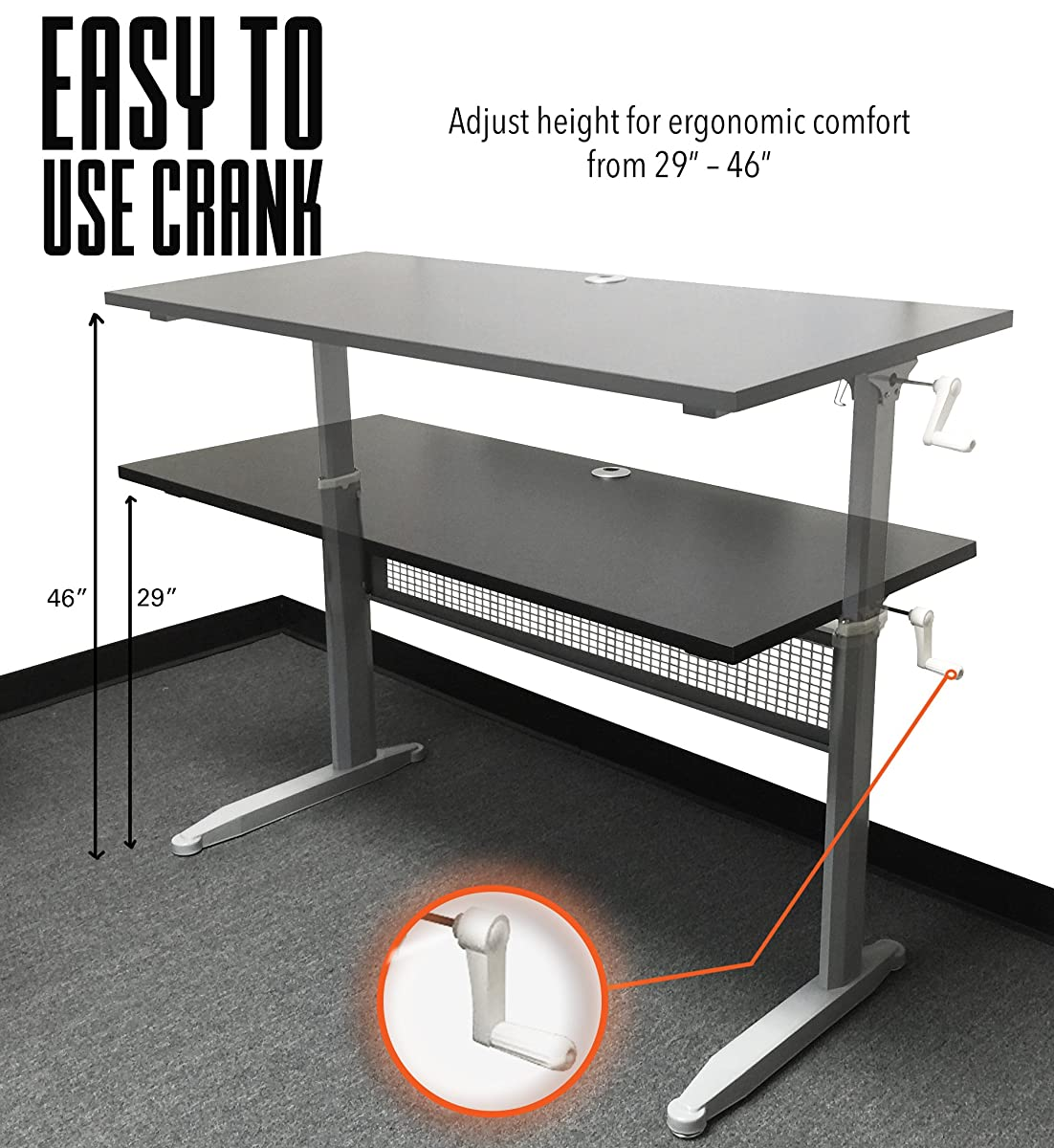 Tranzendesk Standing Desk - 55 inch Long - Easily Crank from Sitting to Standing (Black Top / Silver Frame)