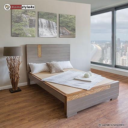 Homestyle4u Bett Holzbett Doppelbett Bettrahmen 140 x 200 grau Ehebett massiv Futonbett