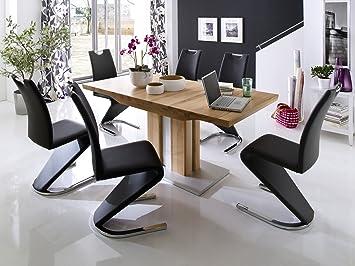 Esszimmer Set Tisch Kernbuche Massiv 160 X 90 Cm / Schwingstühle Schwarz.  An Diesem Schönen, Massiven Tisch Können Sie In Kleiner Oder In Gro ?er, ...