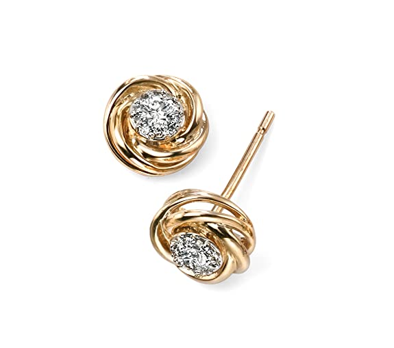 Elements Gold 9ct Yellow Gold Diamond Swirl Stud Earrings