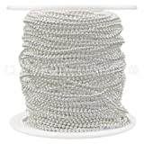 CleverDelights Ball Chain Spool - 100 Feet - 1.5mm Ball (Small) - Shiny Silver Color - Bulk Roll (Color: Silver, Tamaño: 1.5mm)