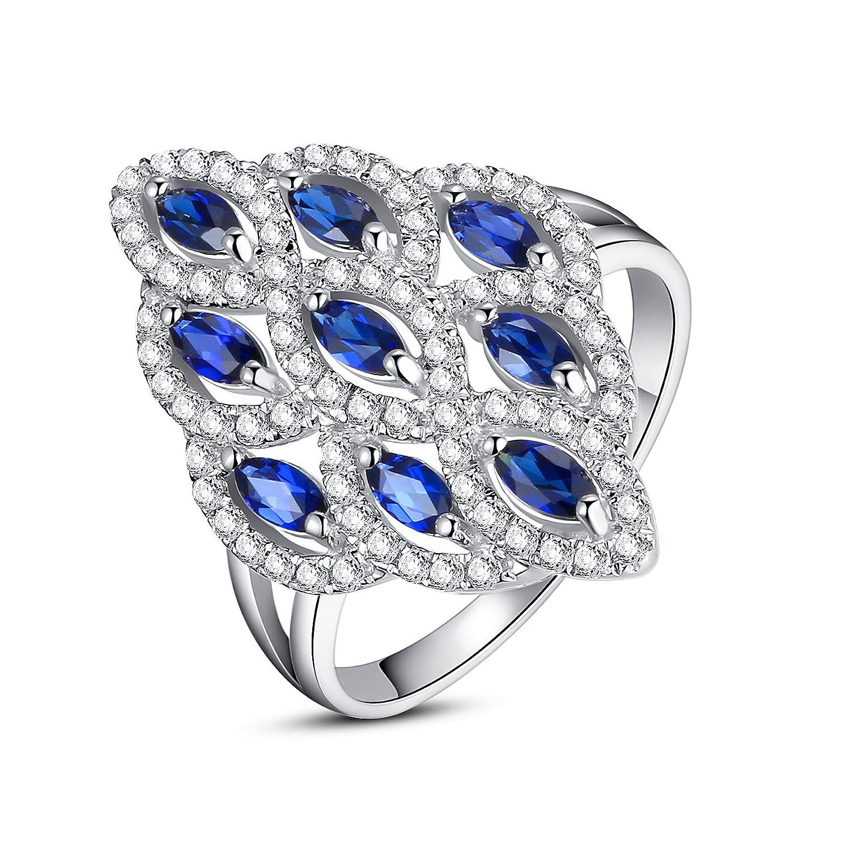 Sterling Silber Damen Ring, 2 Karat Marquise Erstellt Saphir, Cocktail-Ring günstig online kaufen