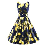 LUOUSE Vintage 1950's 1960's Floral Spring Garden Party Cocktail Dress