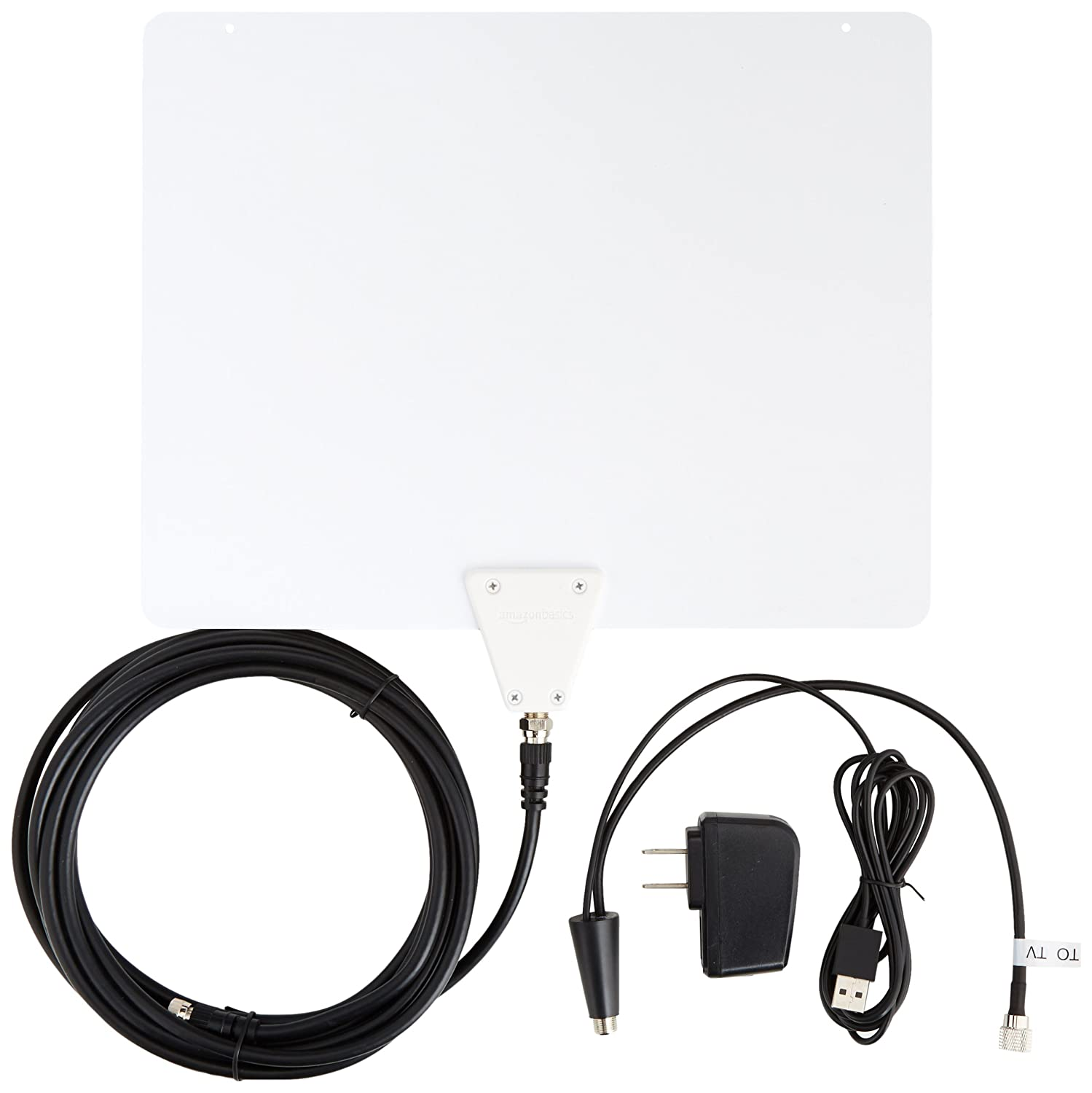 AmazonBasics Ultra Thin Indoor HDTV Antenna - 50 Mile (Latest Version)