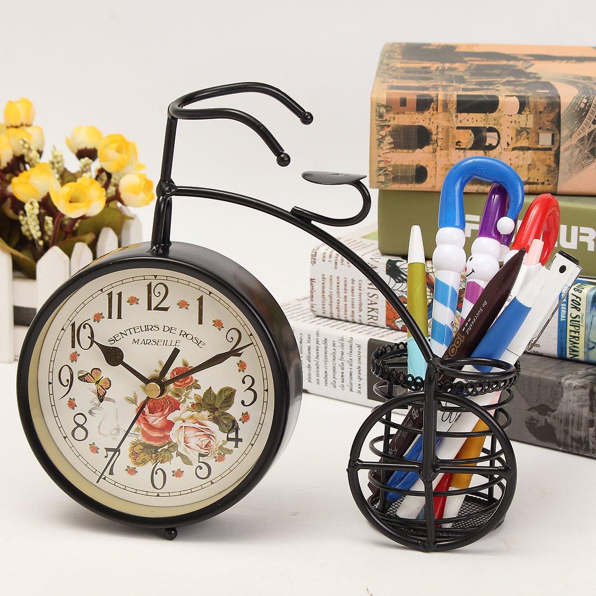 BABAN Creative Alarm Clock With Brush Pot Bicycle Shape Retro Alarm Clock Classic Small Round Silent 0