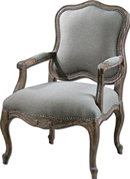 Uttermost Willa Steel Gray Armchair with Pine And White Mahogany Frame With Reinforced Joinery