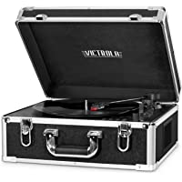 Victrola VSC-551 BLK 3-Speed Bluetooth Suitcase Turntable with CD Player and Speakers (Black/Orange)