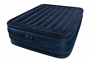 INTEX Queen Raised Downy Airbed Mattress Bed w// Built-In Pump 66717E Open Box