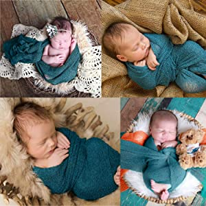 Sunmig Newborn Baby Stretch Wrap Photo Props Wrap-Baby Photography Props (Dark Green) (Color: Dark Green, Tamaño: 0-3 Months)