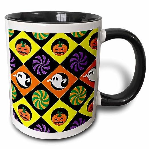 Lee Hiller Designs Holidays Halloween - Halloween Colorful Jack o Lanterns Candy Ghosts - 11oz Two-Tone Black Mug (mug_44439_4)