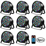 Uplights Baisun 54 Led RGBW Stage Lights DJ Party Lights By Romote DMX Controler For Wedding Parties (8 Pack) (Color: Blue)