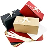 Colored Gift Boxes 9 x 4.5 x 4.5 inch Set of 10 Including Pull Bows and Tissue Paper. Perfect to Wrap Presents. Ideal for Christmas, Baby Clothes, Bathing Products, Cupcakes, Cookies and Other Gifts. (Color: Red, Black & Oatmeal)