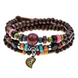 Vintage Leaf Pendant Tibeten Color of Strand Wooden Beads Handmade Bracelet Necklace