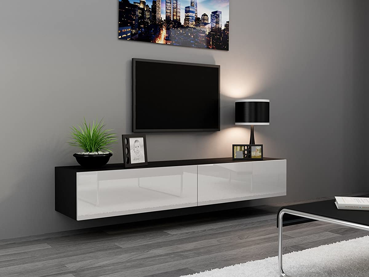 "Seattle TV Stand 180 – TV cabinet with High Gloss fronts - Hanging TV console for up to 80"" TVs (Black & White)"