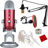 Blue Microphones Yeti USB Microphone with Ultimate Recording Bundle - (Steel Red)