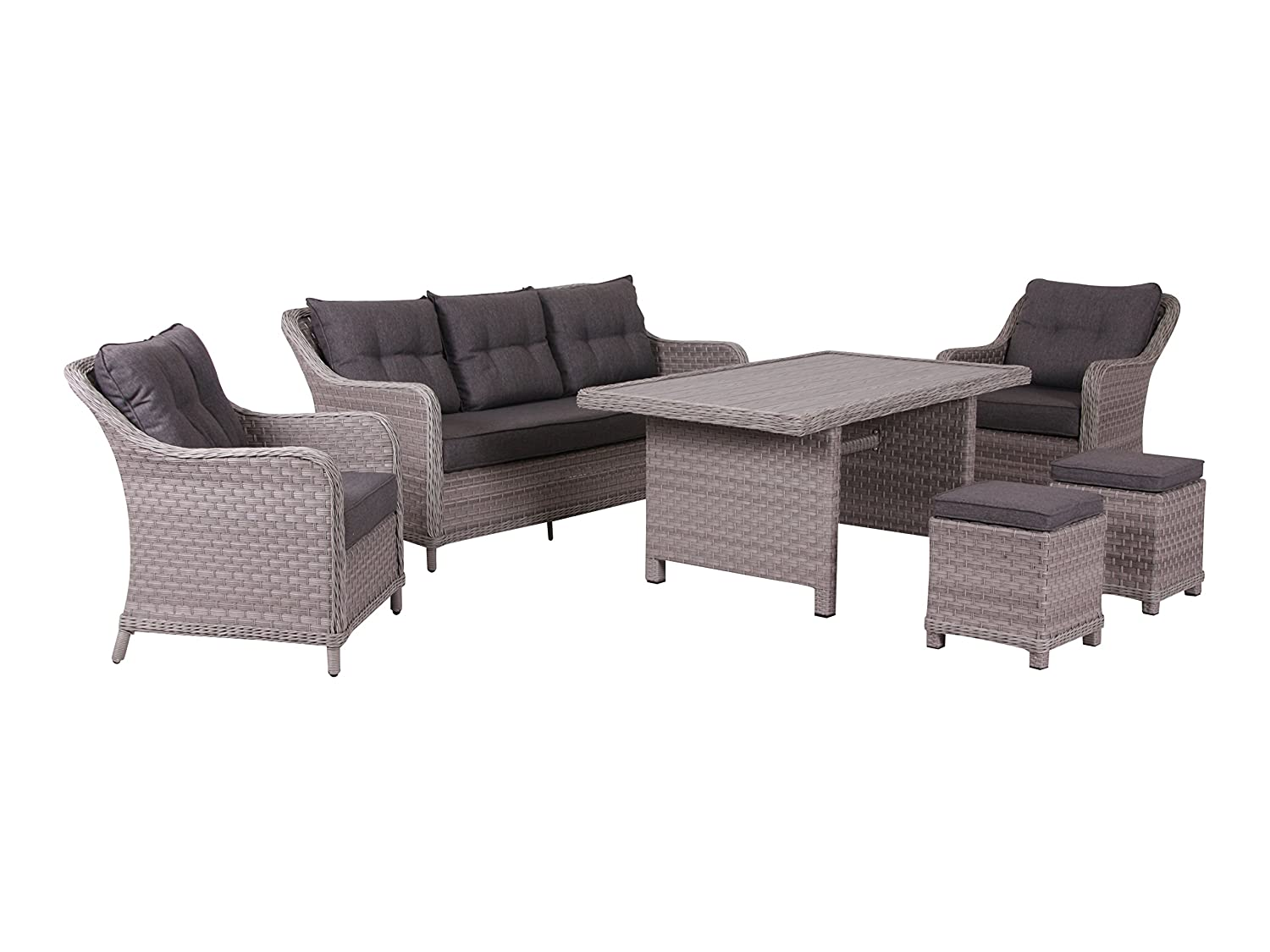 Hohe XXL Dinning Poly Rattan Lounge inkl. Kissen