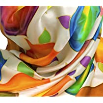 Women's Silk Fashion Scarf - 100% Silk, Hand Painted (Abstract Flowers - Two Color Options); Oblong Scarf