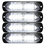 Primelux 4 Pack 4.4-inch Ultra Thin Slim Strobe LED Lighthead - Emergency Hazard Beacon Caution Warning Strobe Lights for Truck Car Vehicle Law Enforcement Snow Plow (White/White) (Color: 4 Pack - White/White)