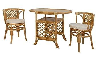 Rattan-Sitzgruppe, Farbe Honig - Versandkostenfrei in DE