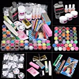 42 Acrylic Nail Art Tips Powder Liquid Brush Glitter Clipper Primer File Set Kit (Color: Multicolor, Tamaño: one size)
