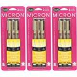 Sakura Pigma 30061 Micron Blister Card Ink Pen Set, Black, Ass't Point Size 3CT Set - 3-Pack (Color: Black, Tamaño: 3-Pack (Ass't Point Size 3CT Set))
