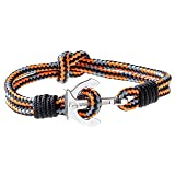 Wind Passion Premium Anchor Orange Bracelet Durable Nautical Rope Cuff Wristband for Men Women, Large Size (Color: Dakar, Tamaño: Large ( Wrist size: 6.86 - 7.64 inch ))