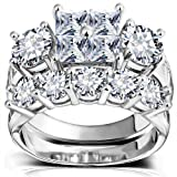 Princess Wedding Rings for Women - Brilliant Cubic Zirconia Big Engagement Bridal Sets Size 6-9 (11)