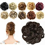 FESHFEN Synthetic Hair Bun Extensions Messy Hair Scrunchies Hair Pieces for Women Hair Donut Updo Ponytail (Color: A08- 2/33 Darkest Brown & Dark Auburn Mixed, Tamaño: Normal)