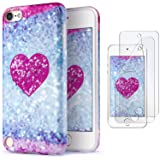 iPod Touch 7 Case with 2 Screen Protectors, IDWELL iPod Touch 6 Case for Girls, iPod Touch 5 Case, Slim FIT Anti-Scratch Flexible Soft TPU Bumper Hybrid Shockproof Protective Cover, Glitter Love Heart (Color: Glitter Love Heart)