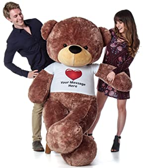 Giant Teddy Personalized Life Size 6 Foot Bear Cuddles with Red Heart T-Shirt (Mocha Brown) (Color: Mocha Brown, Tamaño: 6 foot tall,6ft,6 ft,72 in,72in)
