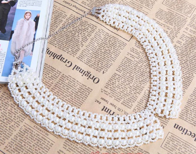 Amazon.co.jp: レディース ビーズ ヴィンテージヨーロッパ付け襟 (パール ブラック)ネックレス フェイク襟 (パール): 服&ファッション小物通販