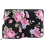 MOSISO Laptop Sleeve Bag Compatible 13-13.3 Inch MacBook Pro Retina, MacBook Air, Surface Book, Surface Laptop with Small Case, Peony Pattern Canvas Protective Carrying Cover, Black (Color: Black, Tamaño: 13-13.3 Inch)