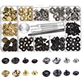 Outus Copper Snap Fasteners Press Studs No Sewing Clothing Snaps Button 39 Set with Fixing Tool for Fabric, Leather Craft (12 mm) (Color: Gunmetal, Gold, Silver, Bronze)