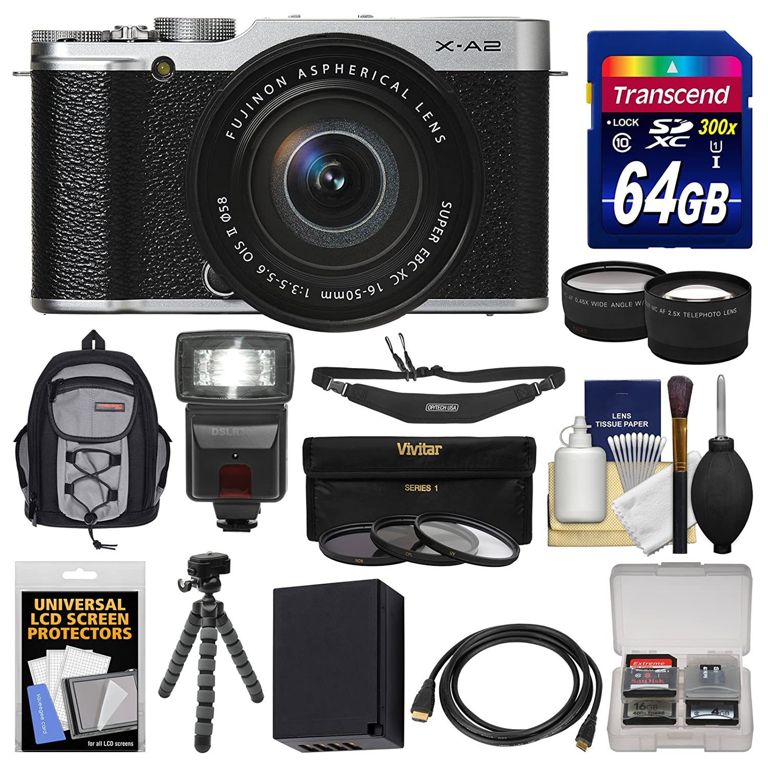 Fujifilm X-A2 Wi-Fi Digital Camera & 16-50mm XC Lens (Silver) with 64GB Card + Case + Flash + Battery + Tripod + Tele/Wide Lens Kit