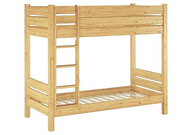 Solido letto a castello in pino Ecologico laccato adatto anche PER ADULTI 100x200 con nicchia da ca.100cm non divisibile. 60.16-10