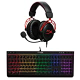 HyperX Cloud Alpha Gaming Headset - Dual Chamber Drivers - Durable Aluminum Frame - Detachable Microphone and HyperX Alloy Core RGB - Gaming Keyboard - Quiet & Responsive - 5-Zoned RGB Backlit Keys