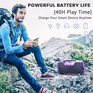AOMAIS GO Bluetooth Speakers, IXP7 Waterproof, Outdoor 40W Wireless Stereo Pairing Booming Bass Speaker, Bluetooth 5.0, 30-Hour Playtime with 8800mAh Power Bank, Durable for Everywhere (Purple) (Color: Purple)