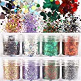 8 Boxes Colorful Nail Shining light Dazzling Hexagon Sequins Ultra-thin Nail Glitter Sequins Iridescent Flakes Sparkles for Face Body Hair Nail (Color2) (Color: Color2)