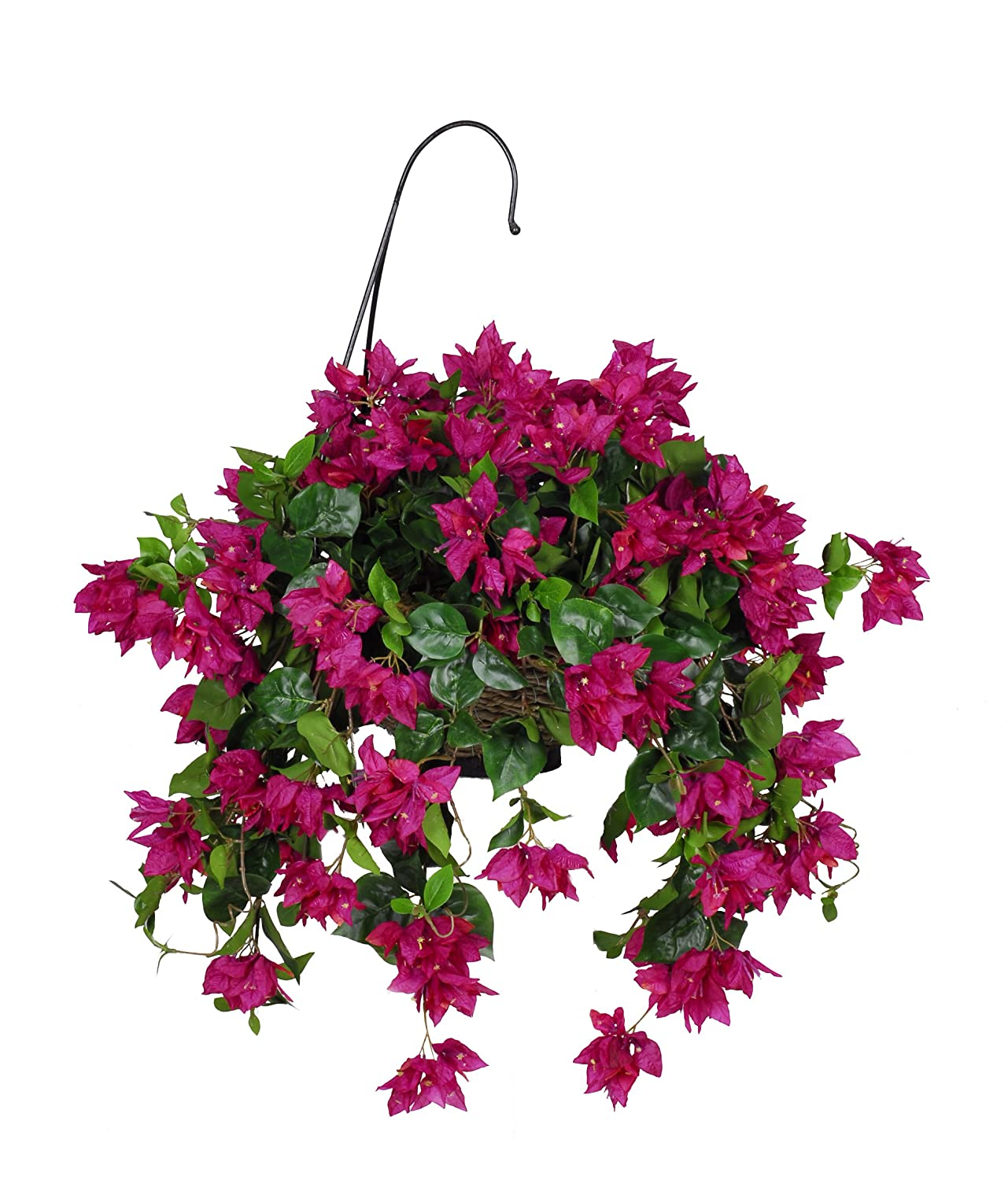 Cheapest Silk Flower Hanging Baskets : Artificial bougainvillea hanging basket fuchsia
