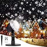 Christmas Projector Lights Outdoor LED Snowflake Christmas Lights with Remote Control, Outdoor Landscape Patio Garden Decorative Lighting for Christmas Xmas Holiday Birthday Party Stage (Color: Black)