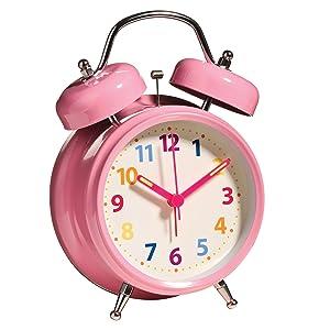 Premier Housewares - Reloj despertador de doble campana con luz (17 x 12 x 6 cm), color rosa   Más información y revisión del cliente