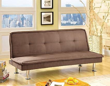Furniture of America Neela Modern Microfiber Futon Sofa, Mocha